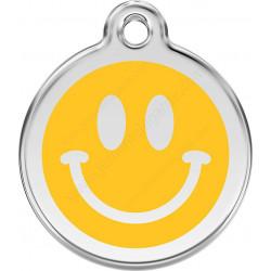 Médaille identité Smiley sourire jaune pour Chiens et Chats