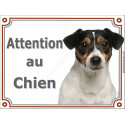 "Jack Russell Tricolore Tête, plaque portail ""Attention au Chien"" 3 tailles LUXE"