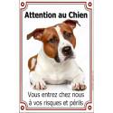 Plaque 24 cm LUXE Attention an Chien Am-Staff Fauve