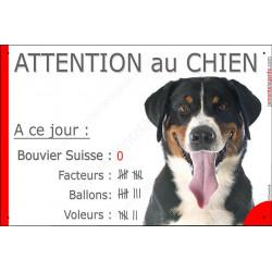 Bouvier Suisse Tête, Pancarte Portail drôle Attention au Chien, plaque panneau marrant nombre de Facteurs, Voleurs, Ballons !