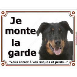 Plaque 4 tailles LUXE Je Monte la Garde, Beauceron Tête