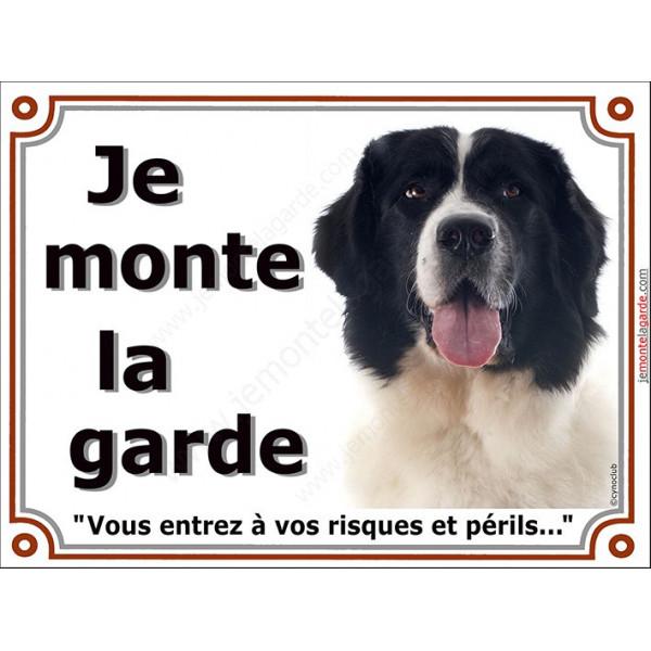 Landseer Tête, Plaque portail Je Monte la Garde, panneau affiche pancarte, risques périls attention au chien
