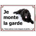 Plaque 4 tailles LUXE je Monte la Garde, Terre Neuve Noir couché