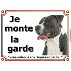 American Staff Noir et Blanc Tête, Plaque portail Je Monte la Garde, panneau affiche pancarte, risques périls am-staff