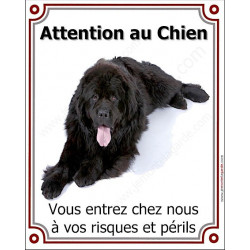 Plaque 25 cm LUXE Attention au Chien, Terre Neuve Noir