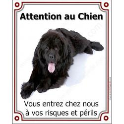 """Terre Neuve Noir couché, plaque portail verticale """"Attention au Chien"""" 25 cm"""
