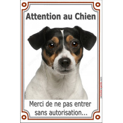 Plaque 24 cm LUXE Attention au Chien, Jack Russell Tricolore tête