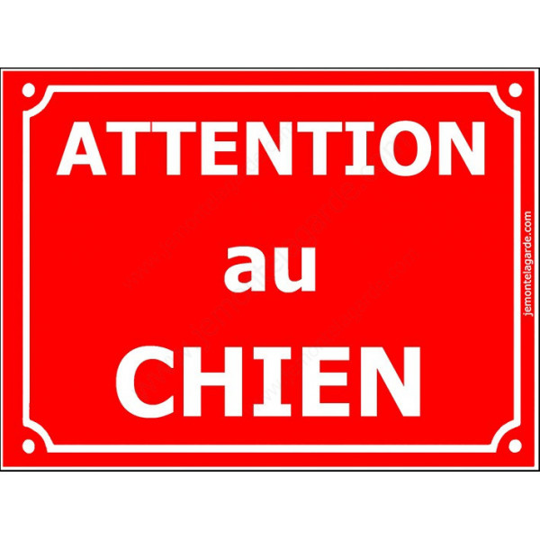 Attention au Chien, Plaque de Rue Rouge panneau affiche pancarte portail