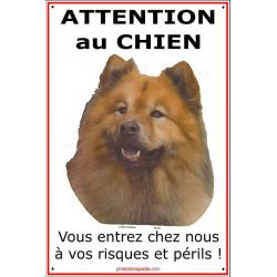 """Eurasier, pancarte verticale pour portail """"Attention au Chien, risques et périls"""" plaque affiche panneau photo"""