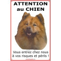 """Eurasier, plaque verticale """"Attention au Chien"""" 24 cm ECO"""