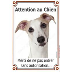 Plaque portail 24 cm, Attention au Chien, Lévrier Whippet Tête, entrer sans autorisation pancarte panneau