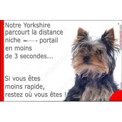York tête, Plaque Portail humoristique, pancarte, affiche panneau drôle attention chien parcourt distance niche portail moins d