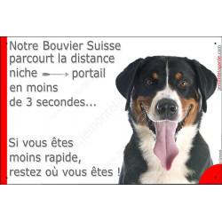 Plaque humour, parcourt distance Niche - Portail moins de 3 secondes, Bouvier Suisse tête Tête pancarte attention au chien