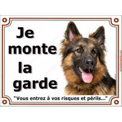 Berger Allemand Poils Longs Tête, Plaque Je Monte la Garde, panneau affiche, risques périls entier pancarte attention au chien