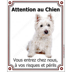 Plaque portail verticale 25 cm Attention au Chien, Westie assis
