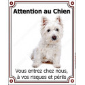 Plaque 25 cm LUXE Attention au Chien, Westie