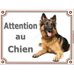 Plaque 2 tailles LUXE Attention au Chien, Berger Allemand à poils longs Couché, pancarte panneau