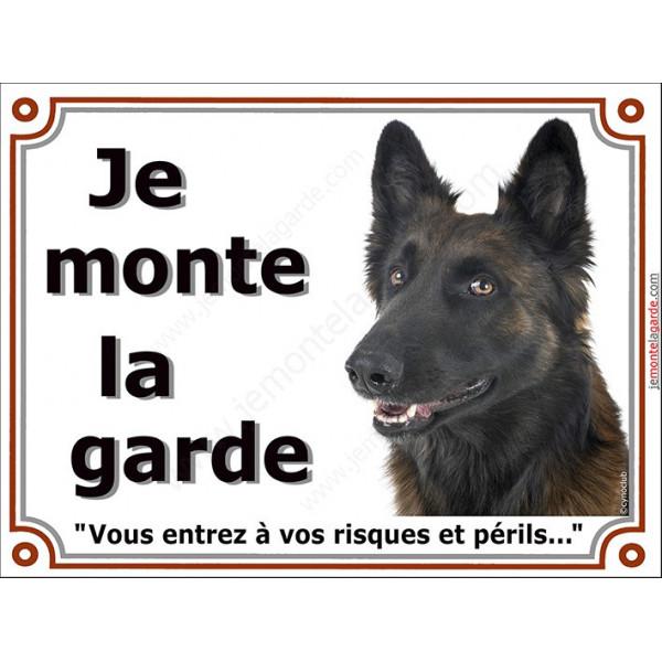 Plaque Je Monte la Garde, Berger Belge Tervueren Tête, pancarte risques et périls, panneau souche travail