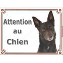Plaque 2 tailles LUXE Attention au Chien, Kelpie Australien Tête