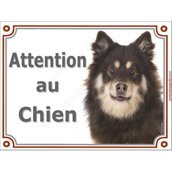 Plaque portail Attention au Chien, Chien Finnois de Laponie Chocolat Tête, pancarte panneau Suomenlapinkoira