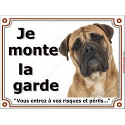 Plaque Je Monte la Garde, Bullmastiff fauve clair Tête, pancarte risques et périls, panneau, beige sable risques périls
