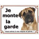 """Bullmastiff fauve clair Tête, plaque portail """"Je Monte la Garde"""" 2 tailles LUXE"""