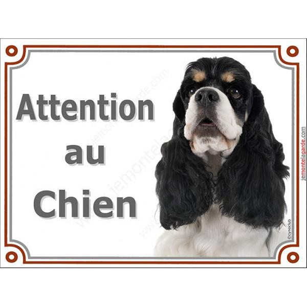 Plaque LUXE Attention au Chien, Cocker Américain tricolore Tête, pancarte panneau USA US