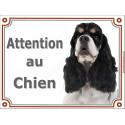 """Cocker Américain tricolore Tête, plaque portail """"Attention au Chien"""" 2 tailles LUXE"""