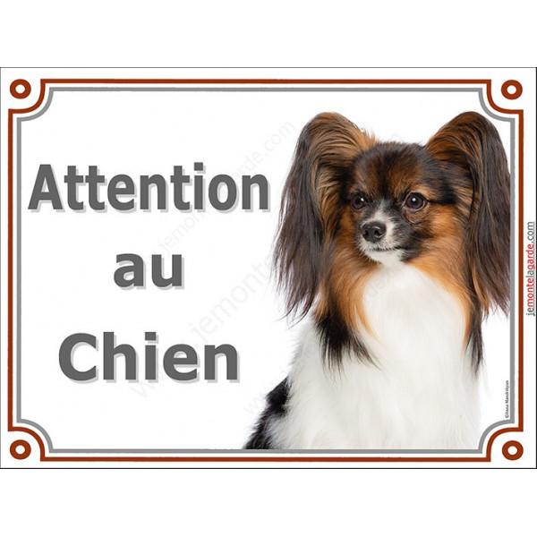 Plaque LUXE Attention au Chien,  Epagneul Continental Papillon Tête, pancarte panneau