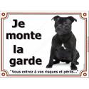 """Staffie noir Assis, plaque """"Je Monte la Garde"""" 4 tailles LUX B"""