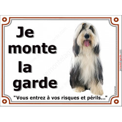 Plaque 4 tailles LUXE Je Monte la Garde, Bearded Collie Assis