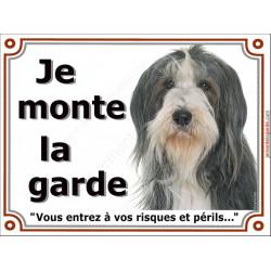 """Bearded Collie noir et blanc Tête, plaque portail """"Je Monte la Garde, risques et périls"""" panneau pancarte, colley barbu photo"""