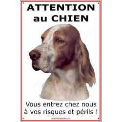 """Setter Anglais Tête, Plaque portail Verticale """"Attention au Chien"""", panneau pancarte affiche risques et périls"""