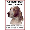 """Setter Anglais tête, plaque portail """"Attention au Chien"""" 24 cm ECO"""