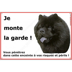 """Chow-Chow Noir, plaque portail """"Je Monte la Garde"""" 24 cm"""