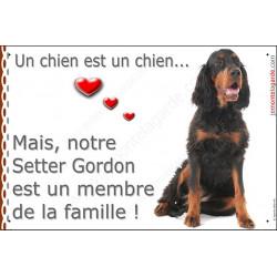 """Setter Gordon Assis, photo Portail """"un chien est un membre de la famille"""" pancarte, affiche panneau attention au chien idée cade"""