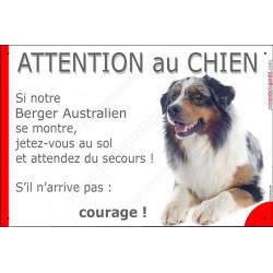 """Berger Australien bleu merle couché, plaque portail humour """"Attention au Chien, jetez Vous au Sol"""" pancarte panneau drôle Aussie"""