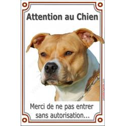 """Amstaff Fauve Tête, plaque portail verticale """"Attention an Chien, interdit sans autorisation"""" pancarte panneau American Staff ma"""