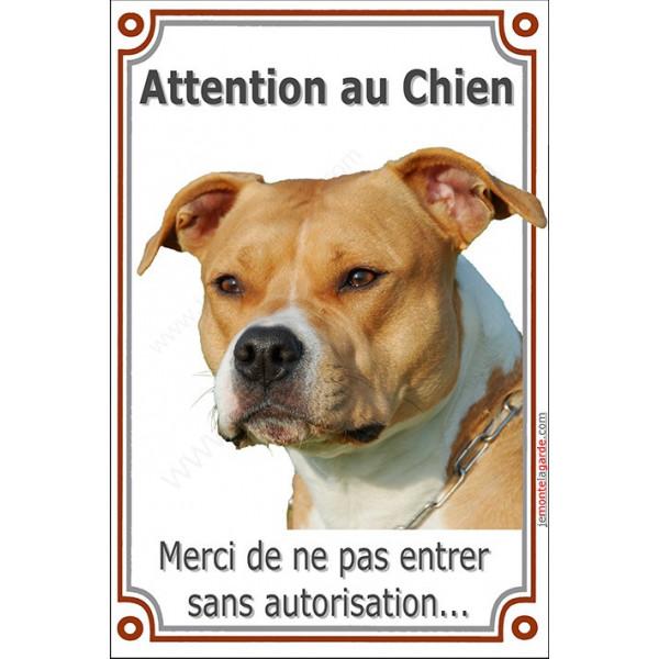 Plaque portail verticale 24 cm LUXE Attention an Chien Am-Staff Fauve Tête pancarte panneau interdit sans autorisation