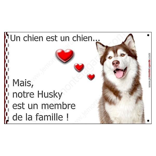 Husky Marron, Plaque Portail un chien est un chien, membre de la famille, pancarte, affiche panneau