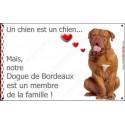 """Dogue de Bordeaux, plaque """"Membre de la Famille"""" 20 cm LOVE int./ext."""