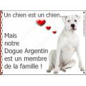 """Dogue Argentin Assis, plaque """"Membre de la Famille"""" 16 cm LOVE"""