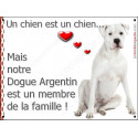 Plaque 16 cm LOVE Membre de la Famille, Dogue Argentin Assis
