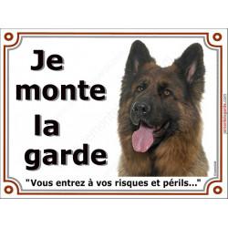 Berger Allemand Poils Longs Tête, Plaque Je Monte la Garde, panneau affiche, risques périls entier pancarte attention au chien p