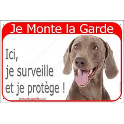 Plaque portail rouge 24 cm, Je Monte la Garde, Braque de Weimar Tête, surveille et protège, pancarte panneau