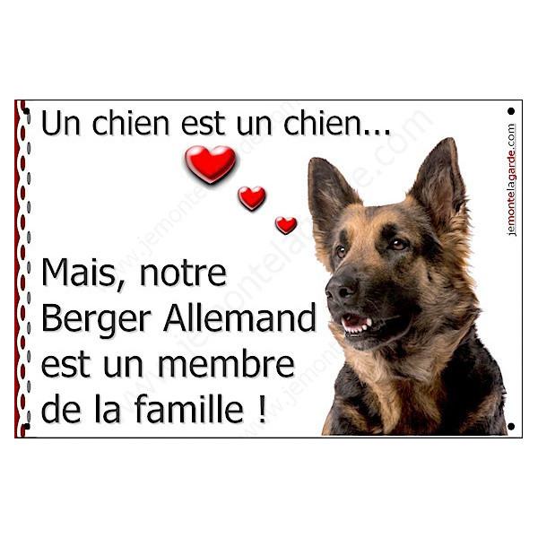Berger Allemand à Poils Longs Tête, Plaque Portail un chien est un chien, membre de la famille, pancarte, affiche panneau