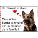 Plaque 2 Tailles LOVE Membre de la Famille, Berger Allemand à Poils Longs