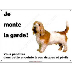 Basset Griffon Vendéen, pancarte portail je monte la garde, plaque affiche panneau, risques et périls