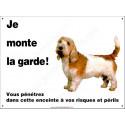 Plaque 26,5 cm ECO Je Monte la Garde, Basset Griffon Vendéen