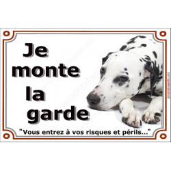 Dalmatien couché, Plaque Portail Je Monte la Garde, Affiche Panneau risques et périls attention au chien